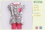 Детский летний костюм для девочки КС 556 Бемби, супрем серый розовый 0