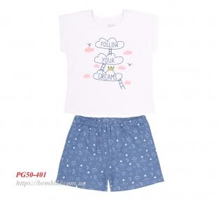 Детская летняя пижама для девочки ПЖ 50 Бемби голубой-рисунок