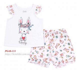 Детская летняя пижама ПЖ 48 Бемби белый-белый-рисунок