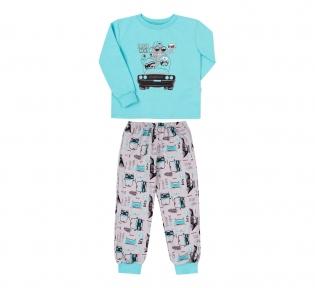 Детская пижама  ПЖ 55 Бемби бирюзовый-светло-серый-рисунок