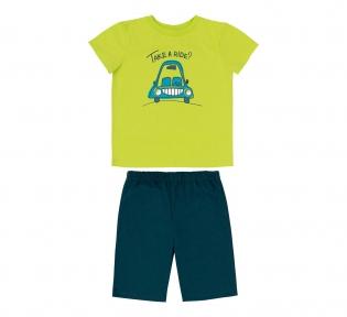 Детская летняя пижама на мальчика ПЖ 54 Бемби салатовый-бирюзовый