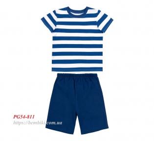 Детская летняя пижама на мальчика ПЖ 54 Бемби синий-белый-рисунок