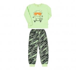 Детская пижама для мальчика ПЖ 55 Бемби салатовый-хаки-рисунок