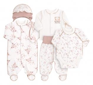 Детский комплект для новорожденных с пяти предметов в подарочной упаковке КП 144 Бемби, интерлок