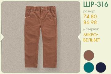 Дитячі штани для хлопчика ШР 316 ТМ Бембі, мікровельвет