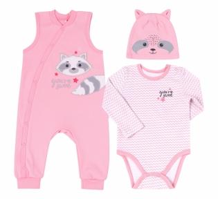 Детский комплект с трех предметов для новорожденных КП 221 Бемби интерлок розовый-рисунок