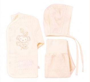 Детский комплект для новорожденных с трех предметов КП 101 Бемби супрем фактурный молочный