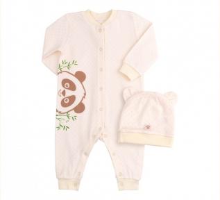 Детский комплект с двух предметов для новорожденных КП 217 Бемби рибана молочный