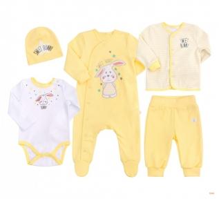 Детский комплект с пяти предметов для новорожденных КП 218 Бемби интерлок желтый-белый-рисунок