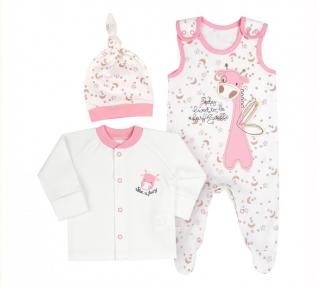 Детский комплект КП 219 на новорожденных с трех предметов в подарочной упаковке Бемби интерлок  молочный-розовый-рисунок