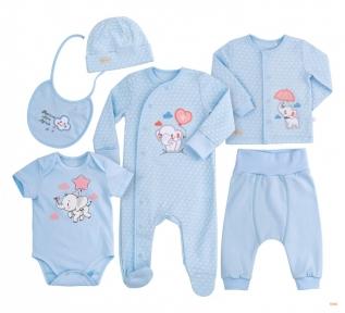 Детский комплект с шести предметов для новорожденных КП 228 Бемби интерлок голубой