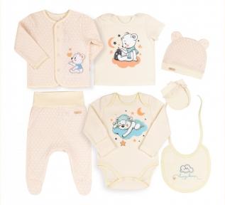 Детский комплект КП 229 на новорожденных с семи предметов в подарочной упаковке Бемби интерлок молочный