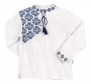 Детская этно-рубашка вышиванка для мальчика с длинным рукавом РБ 136 Бемби, терикоттон