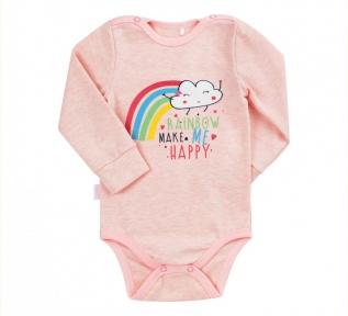 Детский боди для новорожденных БД 155 Бемби меланж-розовый