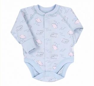 Боди с длинным рукавом для новорожденных БД 69 Бемби голубой-рисунок