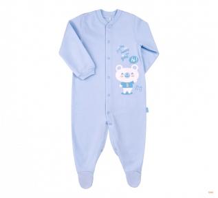 Детский комбинезон человечек с длинным рукавом для новорожденных КБ 77 Бемби байка голубой