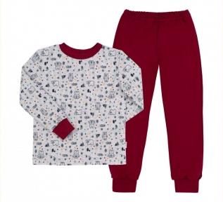 Детская пижама универсальная ПЖ 53 Бемби серый-красный-рисунок