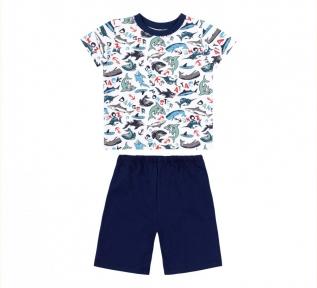 Детская летняя пижама на мальчика ПЖ 54 Бемби синий-рисунок