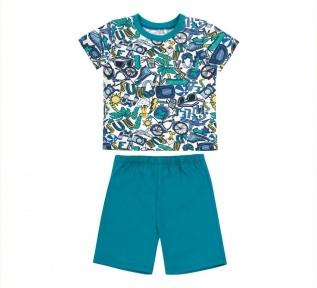 Детская летняя пижама на мальчика ПЖ 54 Бемби бирюзовый-рисунок