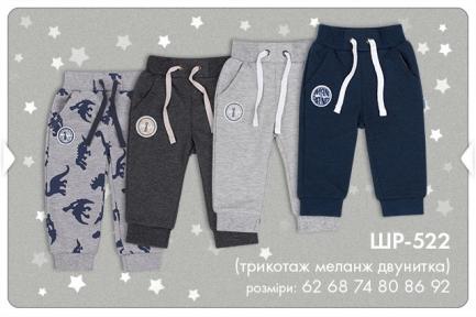 Детские спортивные штанишки для мальчика ШР 522 Бемби, двунитка меланж